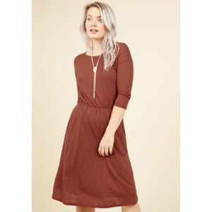 Modcloth ginger rust jersey fit & flare dress